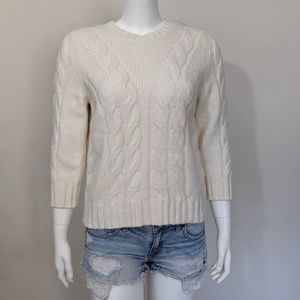 Ann Taylor Petite cream cable knit sweater